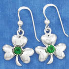French Wire Sterling Silver Shamrock and Green Glass Earrings