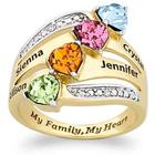Mom's My Family, My Heart Personalized Birthstone Diamond Ring