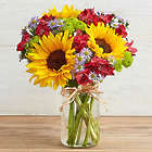 Colorful Sunflower Bouquet in Mason Jar