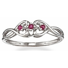 Ruby Double Heart Promise Ring in 14k Gold