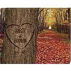 Personalized Carved Heart On Tree Canvas Print