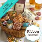 Simply Beer Snacks Basket with Merry Christmas Ribbon