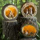 Illuminated Woodland Tree Trunk Animal Garden Statue
