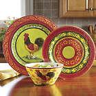 12 Piece Melamine Rooster Dinnerware Set