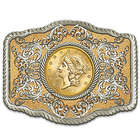 1857 Double Eagle Gold Liberty Replica Coin Belt Buckle