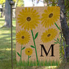 Personalized Yellow Floral Burlap Garden Flag