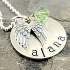 Angel Wings Memorial Personalized Stamped Necklace