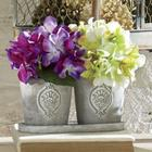 2 Plastic Floral Hydrangeas in Embossed Pots