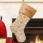Embroidered Gold Ribbon Christmas Stocking