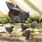 Hen with Chicks Metal Garden Statue