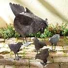 Hen with Chicks Metal Garden Statue