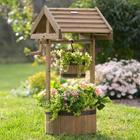 Wishing Well Wooden Planter with Solar Light
