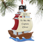 Pirate Ship Personalized Christmas Ornaments