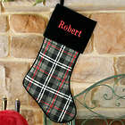 Personalized Grey Plaid Christmas Stocking