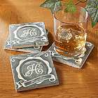 Stone Chalkboard Personalized Drink Coasters