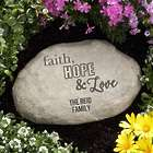 Personalized Faith, Hope, Love Garden Stone