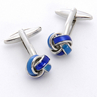 Blue Knot Cufflinks with Personalized Case