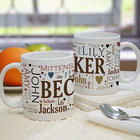 Personalized Family Names Word-Art Coffee Mug