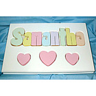 Personalized 3 Hearts Puzzle Stool in White