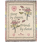 Personalized Pink Flowers and Hearts Sister Throw