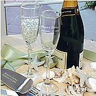 Personalized Beach Theme Wedding Champagne Glasses