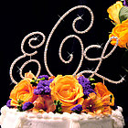 Gold Crystal Monogram Cake Topper