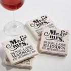 Mr. & Mrs. Wedding Coasters Personalized Stone Coaster Set