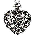 Marcasite Filigree Heart Necklace in Sterling Silver