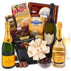 Veuve Champagne New Years Gift Basket of Indulgence