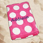 Embroidered Pink Polka Dot Beach Towel
