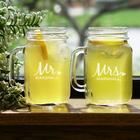 Engraved Mr. and Mrs. Mason Jar Set
