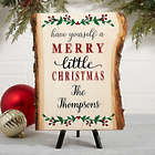 Merry Christmas Small Personalized Basswood Plank Sign