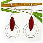 Contemporary Wood and Silver Circle Earrings
