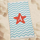 Personalized Starfish Chevron Beach Towel