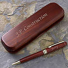 Engraved Rosewood Pen and Case Set