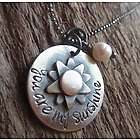 Rustic Silver You Are My Sunshine Necklace