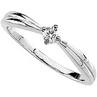 14K White Gold Diamond Solitaire Promise Ring