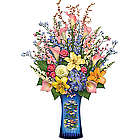 Claude Monet Water Lilies Vase with Lifelike Floral Arrangement