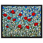 Poppies Stained Glass Mosaic Panel