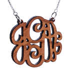 Cherry Wood Carved Small Monogram Necklace