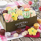 Flower-Shaped Cookies in Wooden Tray