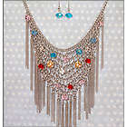 Exotic Jeweled Chainmail Necklace and Earring Set