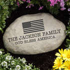 Personalized American Flag Garden Stone