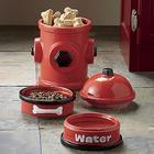 Fire Hydrant Jar and Pet Bowl Set