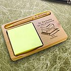Personalized School Memories Wooden Notepad and Pen Holder