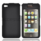 Black iPhone 4 Rubberized Plastic Case with Front Top Cover