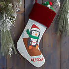 Whimsical Winter Personalized Burgundy Christmas Stocking