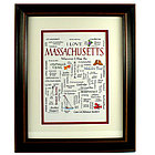 Framed Massachusetts Calligraphy Sampler