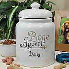 Dog's Personalized Ceramic Bone Appetit Treat Jar