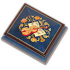 Royal Blue Music Box with Instrumental Inlay